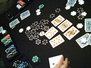 One of tonight's poker hands: the table wins with a straight flush