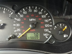 My odometer, as I sat in the parking lot of the first church I attended in 14 years (08/04/13)