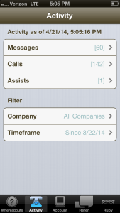 The Activity screen from Ruby's iPhone App