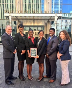 NCCU Law's 2015 AAJ trial team. From left: me, Petal Munroe, Shelvia Dancy, Joshua Palmer, Jaimee Bullock, and EIC